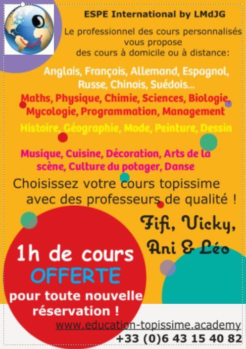 Brochure choisissez votre cours personnalise avec votre professeur topissime espe international by lmdjg recto