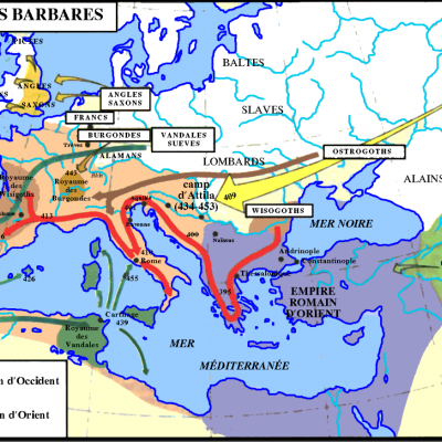 Carte invasions barbares haut moyen age